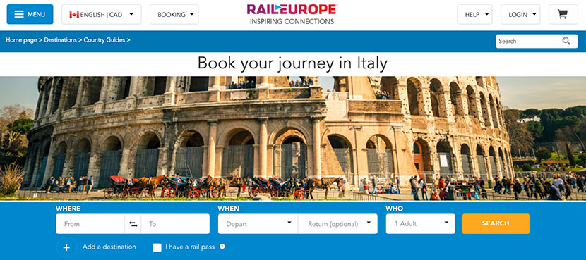Italy Train Travel Options at Rail Europe