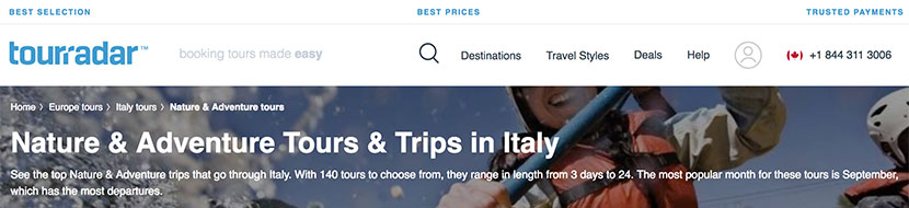 Nature & Adventure Tours & Trips in Italy on Tourradar