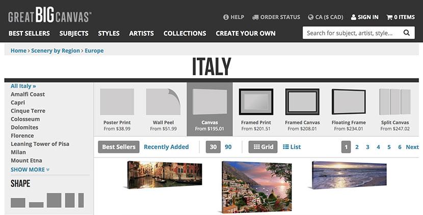 Italy Photo Prints at Great Big Canvas